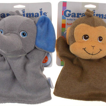 Set 2 Garanimals Baby Collection Bath Mitt Elephant Monkey Soft Plush Toy Puppet