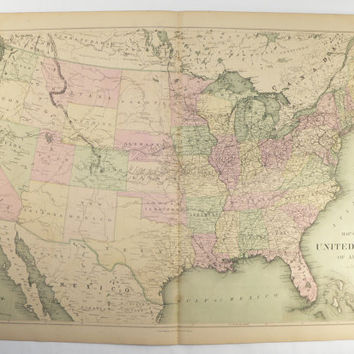 Antique United States Map 1873 Original Vintage Map United States Usa Map Us Historical