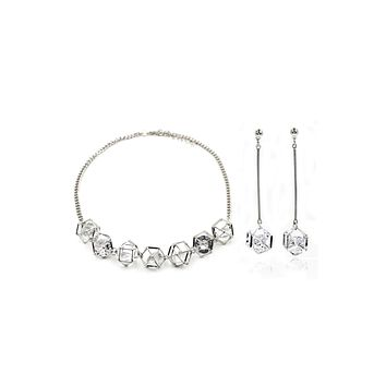 prism crystal earring necklace set