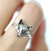sterling silver ring, wold ring, for ring, animal ring, silver fox ring, silver wolf ring, man ring, retro fox ring, unique ring, wrap ring