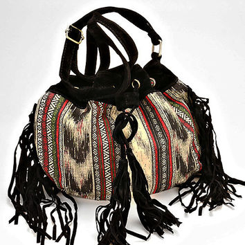 Boho Fringe Aztec Suede Fringe Crossbody Bucket Bag - Black
