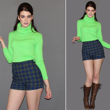 Vintage 70s LIME GREEN TURTLENECK / Groovy Mod Long Sleeve Top / Foldover, Slouchy Collar / Ribbed Knit / Neon Green Winter Sweater / Medium