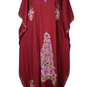WOMEN KIMONO CAFTAN MAROON FLORAL EMBROIDERED INDIAN ETHNIC EVENING MAXI DRESS