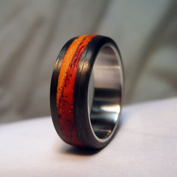 Carbon Fiber, Wood and Steel Ring - Wood of Your Choice