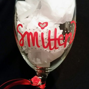 "Valentine wine glass ""Smitten"" hand painted, adorned with ribbon and rose, gift, lovers, boyfriend, girlfriend, anniversary, date, crush"