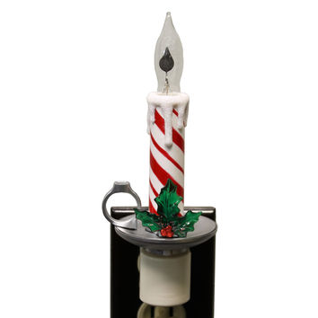 Christmas PEPPERMINT CANDLE STICK Plastic Night Light Electric 164581
