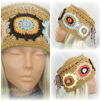 Crochet  Hat Kantry Style  With Granny Squares Multicolor Original Design