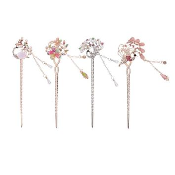 Vintage Women Hollow Vines Flower Hair Clasp Resin Jewelry Retro Alloy Crystal Hair Sticks Arabia Bride Bun Hairpin