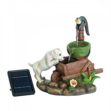 Solar Thirsty Puppy Dog Fountain