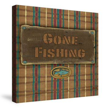 Laural Home ''Gone Fishing'' Canvas Wall Art (Brown)
