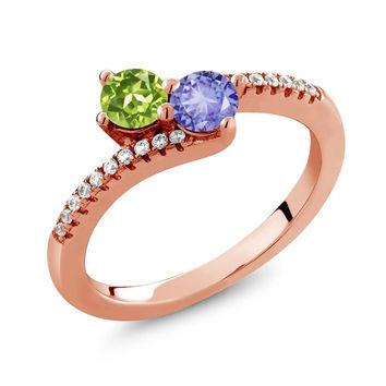0.84 Ct Green Peridot Blue Tanzanite Two Stone 18K Rose Gold Plated Silver Ring