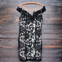 final sale - black floral lace appliqué bodycon dress