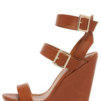 Double Decker Tan Platform Wedge Sandals