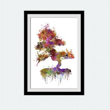 Summer tree print Summer tree poster Watercolor tree print Home decor Kids room art Wall hanging decor Christmas gift Birthday gift  W279