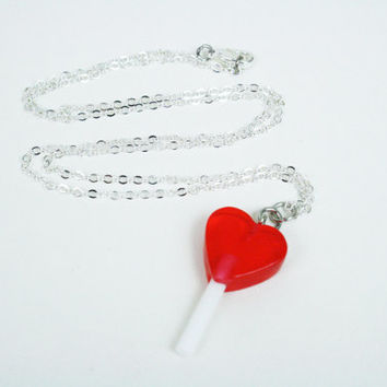 Heart Lollipop Necklace / Red or Blue / Valentine's Day