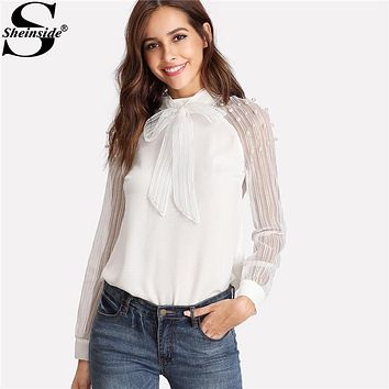 Sheinside 2018 Stand Collar Long Sleeve Tie Neck Bow Blouse Women White Pearl Beading Embellished Striped Mesh Sleeve Shirt