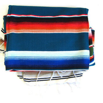 Vintage Mexican Striped Ethnic Blanket // blue, orange and white serape