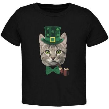 LMFCY8 St. Patrick's Funny Cat Black Toddler T-Shirt