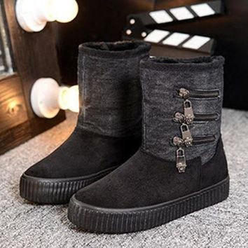 ac PEAPON On Sale Hot Deal Winter Patchwork Thick Crust Boots [79791554585]