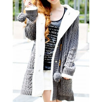 Dark Grey Womens Knitting Long Sleeved Horn Button Thick Long Sweater Coat One Size MM0447dg = 1920445188