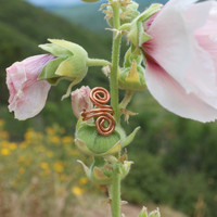 Metal Copper Tooled Ear Cuff with Swirls for Men Women Unisex, Tribal BOHO Earthy Gift, Hypoallergenic, Nature Eco Jewelry, Copper Ear Cuff