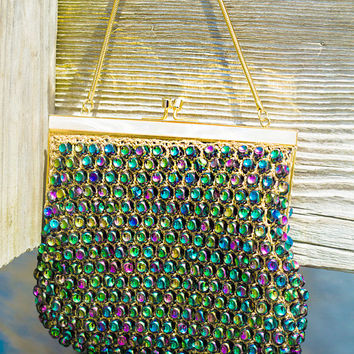 Purple Cocktail Bag -- Beaded Vintage Purse. // MulitColor, Opalescent. Mother of Pearl Frame.