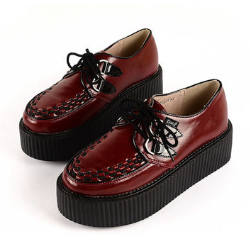 Handmade Women's Vintage Wine Red Lace Up Flat Platform Oxfords Goth Creeper shoes Punk Creepers Pumps Loafers Sneakers