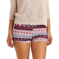 High-Waisted Tribal & Paisley Print Bike Shorts - Navy Combo