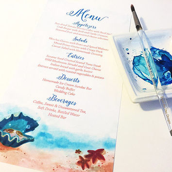 "Beach Wedding Menu - Entree Card Napkin Insert Menu ""Clam Shell Treasures""  Watercolor Wedding Reception Card Dinner Menu - Reception Menu"