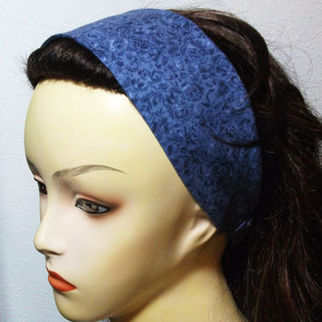 Reversible Blue Roses Headband Wide Wrap Around Fabric Headband