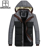 New Hooded Mens Jacket Warm Winter Jackets Coat Padded Thick Slim Men's Coats Casual Cotton-Padded