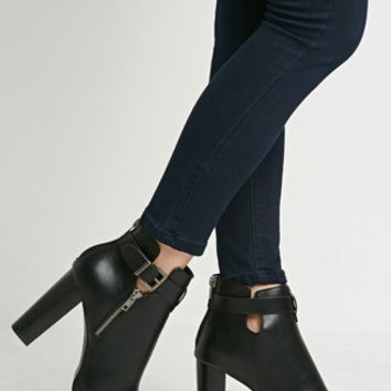 Faux Leather Ankle Booties