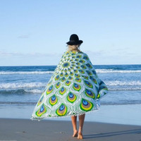 Tassels Beach Peacock Summer Scarf [9440717572]