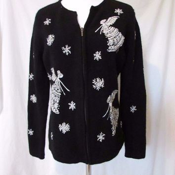 Talbots Cardigan Holiday Collection Sweater Women's M Black Snowflakes Angels