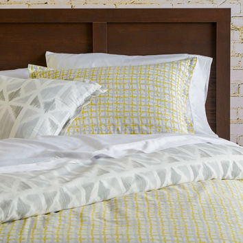 King size 100% Cotton Reversible Comforter Set in Yellow Light Grey White Check Pattern