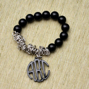 Wedding Gift - Handcrafted Monogram Bracelet with Pearls - 1 inch Circle Personalized Monogram Acrylic Custom Made