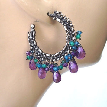 40% SALE Amethyst Earrings Hoop Oxidized Silver Handcrafted Wire Wrapped Statement Hoop Earrings