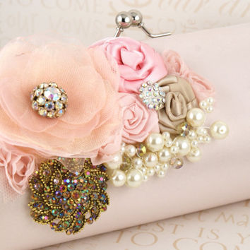 Glamour in Blush Pink  Bridal Statement Clutch with by SolBijou
