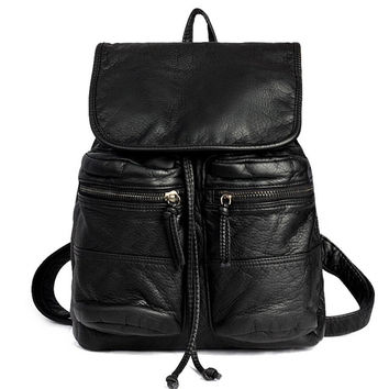 Womens Vintage Style Black Leather Backpack BookBag