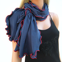 Navy Blue Cotton Neck Rag with Red trimming    navy Ruffle Scarf   Navy cotton Jersey Ruffled Scarf    Fall  WinterFashion