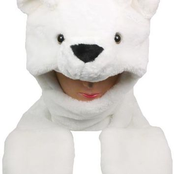 White Bear Animal Winter Hat with Mittens - CASE OF 12