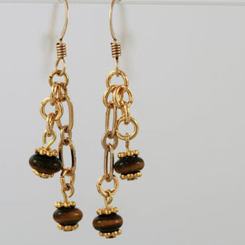 Gold Chain and Tiger Eye Earrings on Gold Filled Earwires