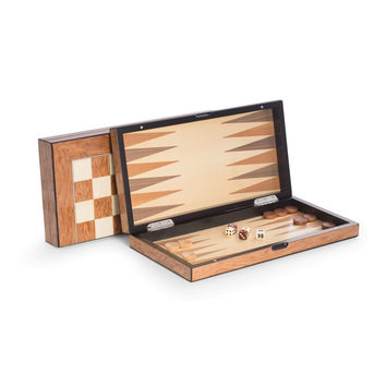 """Lacquer Finished 15.5"""" Brown Inlaid Wood Backgammon & Chess Set"""