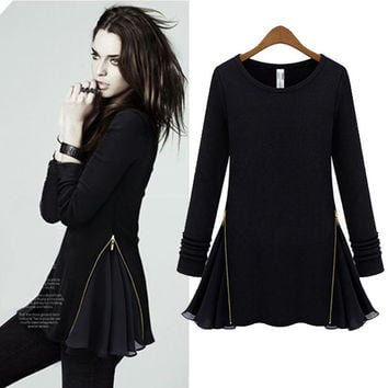 Side Zipper Chiffon Long-sleeve Dress
