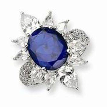 Sterling Silver CZ Synthetic Blue Spinel Ring