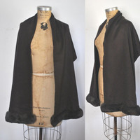 FENDI Mink Fur and Cashmere Stole Wrap / long scarf / Cape
