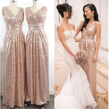 2016 New Gold Rose Bridesmaid Dresses Honor Of Maid Formal Gown With  A-Line V Neck Sparkly Sequins Lace Long Cheap