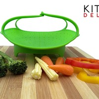 "PREMIUM Silicone Vegetable Steamer Basket - Green - 8"" - Kitchen Bundle - Heat Resistant Silicon - BONUS Food eBook + 3 in 1 Julienne Veg Peeler"