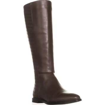 Calvin Klein Donnily Back Cross Stitch Riding Boots, Coffee Bean, 6.5 US / 36.5 EU