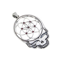 Grateful Dead ~ Sterling Silver Seed of Life Steal Your Face Pendant with Rubies ~ Sacred Geometry